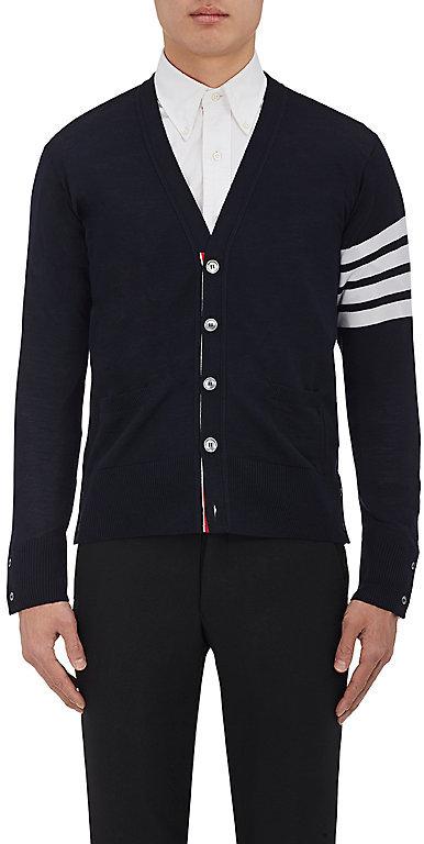 Thom Browne Men's Striped-Sleeve Wool Cardigan