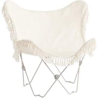 At PBteen · Pottery Barn Teen Ivory Canvas Fringe Butterfly Chair