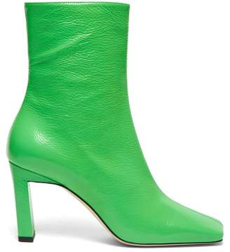 Wandler Isa Square Toe Leather Ankle Boots - Womens - Green