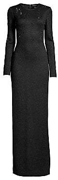 St. John Women's Lace Overlay Jacquard Knit Gown
