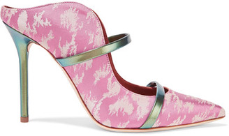 Malone Souliers - Maureen Metallic Leather-trimmed Satin-jacquard Mules - Baby pink $675 thestylecure.com