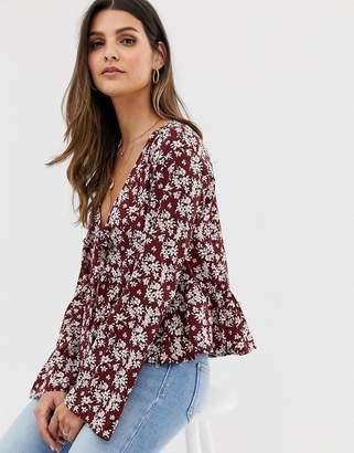 43ec2deca2da Vila boho floral tie front blouse