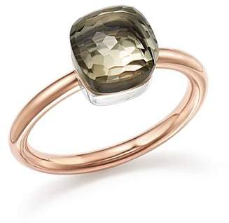 Pomellato Nudo Mini Ring with Faceted Prasiolite in 18K Rose and White Gold
