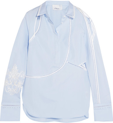 3.1 Phillip Lim 3.1 Phillip Lim - Embroidered Cutout Cotton-poplin Shirt - Sky blue