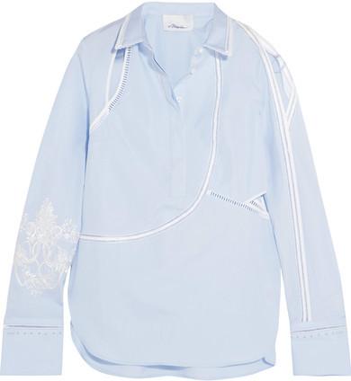 3.1 Phillip Lim3.1 Phillip Lim - Embroidered Cutout Cotton-poplin Shirt - Sky blue