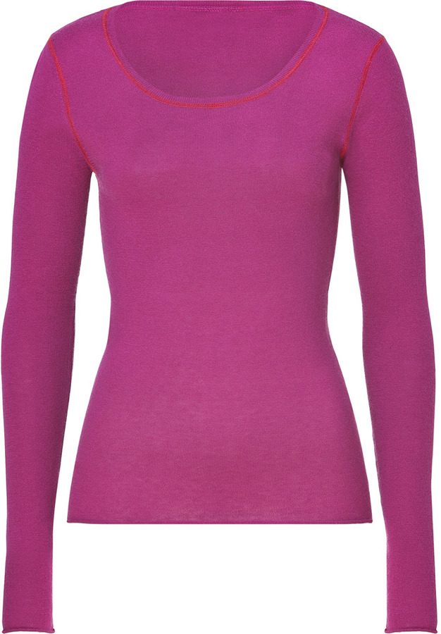 Dear Cashmere Purple/Red Cotton-Cashmere Scoop Neck Pullover