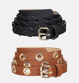 Avenue Black and Tan Belt Set