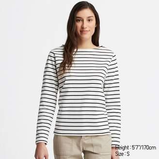 Uniqlo WOMEN Striped Boat Neck Long Sleeve T-shirt