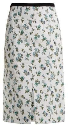 Erdem Vero Floral Jacquard Midi Skirt - Womens - Blue Print