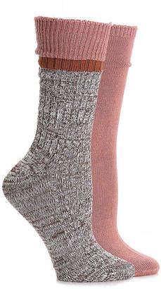 Steve Madden Marled Colorblock Cuff Crew Socks - 2 Pack - Women's