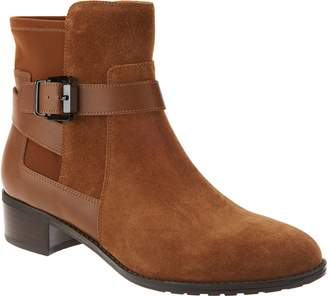 Isaac Mizrahi Live! Suede Ankle Boots with Leather Straps
