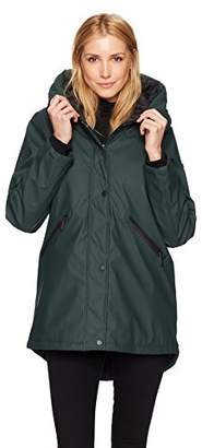 French Connection Women's 3/4 Hooded Slicker with Quilted Lining