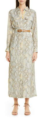 Lafayette 148 New York Doha Belted Maxi Shirtdress