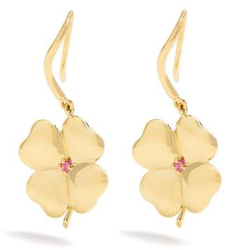Aurelie Bidermann Fine Jewellery Fine Jewellery - Clover Sapphire & Yellow Gold Earrings - Womens - Yellow Gold