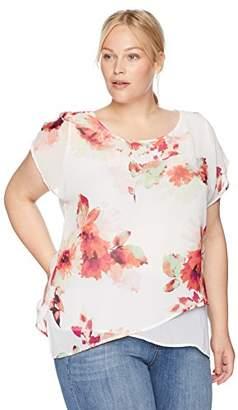 Calvin Klein Women's Plus Size Floral Asymmetrical Hem Top