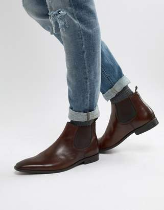 Dune Chelsea Boots In Brown Leather