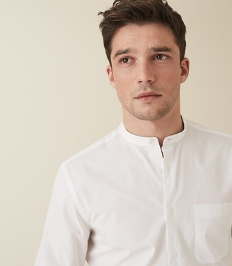 Reiss MARIONNE GRANDAD COLLAR SHIRT White