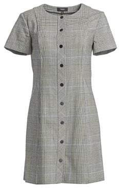 Theory Easy Snap Wool-Blend Shift Dress