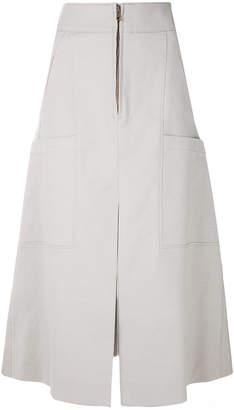 Chloé multi-pocket A-line midi skirt
