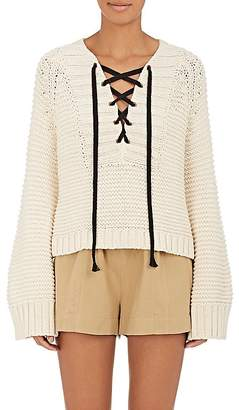 Ulla Johnson Women's Marland Cotton Lace-Up Sweater $345 thestylecure.com