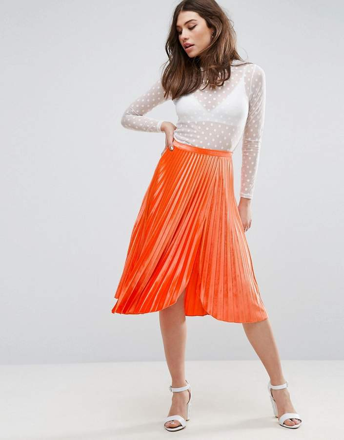 Asos ASOS Pleated Velvet Midi Skirt with Thigh Split