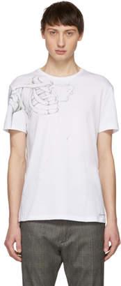 Alexander McQueen White Left Shoulder Skeleton T-Shirt