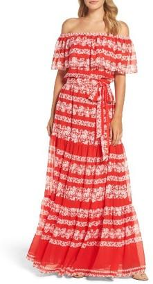 Petite Women's Eliza J Off The Shoulder Maxi Dress $158 thestylecure.com