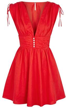 Free People Roll The Dice Red Linen-blend Dress