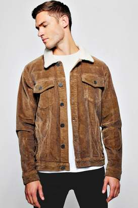 boohoo Brown Borg Collar Corduroy Jacket