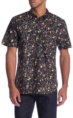 Current\u002FElliott Floral Print Short Sleeve Classic Fit Shirt