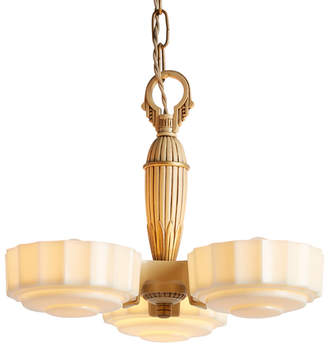 Rejuvenation Three-Light Art Deco Slipper Shade Chandelier