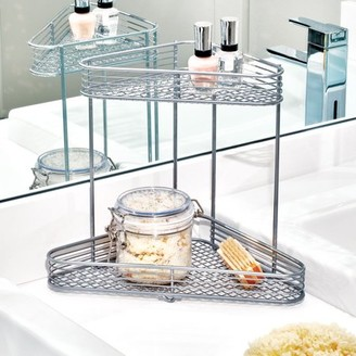 iDesign Vienna 2-Tier Corner Vanity Shelf in Silver