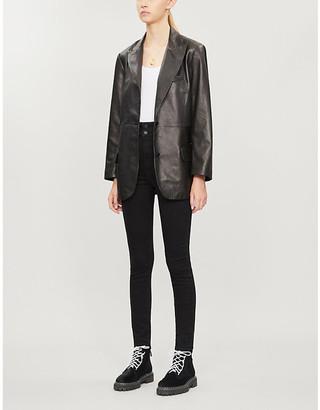 J Brand x Elsa Hosk Birthday single-breasted leather blazer