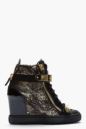 Giuseppe Zanotti Gold snakeskin Loren Z75 Wedge Sneaker