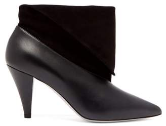 Givenchy Folded Cuff Suede And Leather Ankle Boots - Womens - Black