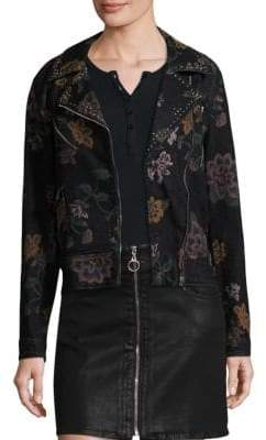 7 For All Mankind Floral-Print Motorcycle Jacket