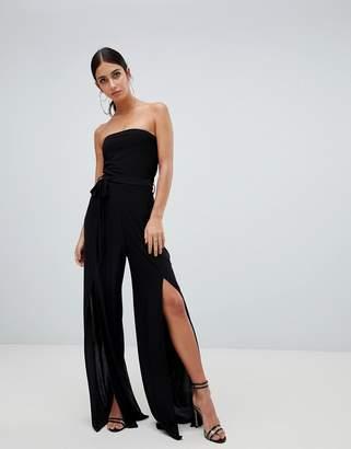 Missguided bandeau leg split jumpsuit in black