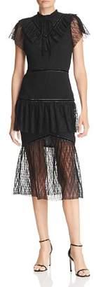 J.o.a. Tiered Illusion-Hem Mermaid Dress