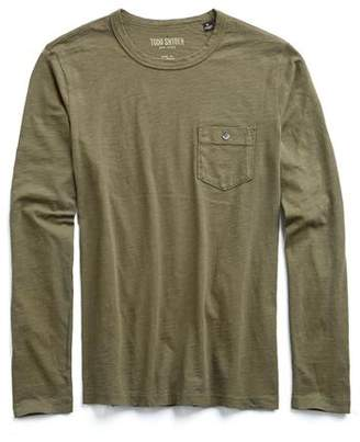 Todd Snyder Made in L.A. Garment Dyed Long Sleeve Tee in Olive