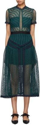 Self-Portrait Panelled wavy guipure lace dress