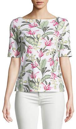 Karen Scott Petite Floral Elbow-Sleeve Top