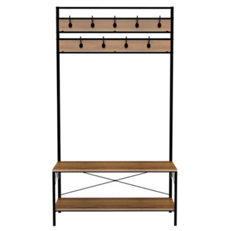 Yaheetech Entryway Shoe Bench with Coat Rack Hooks Hall Tree Storage Organizer
