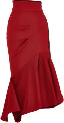 Maticevski Quill Flirt Asymmetric Draped Cady Skirt Size: 8