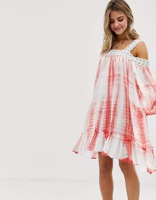 En Creme En CrMe tie dye smock dress with lace trim detail