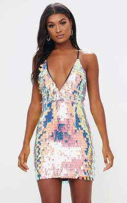 Multi Strappy Plunge Extreme Split Sequin Bodycon Dress Pretty Little Thing YCQCm