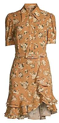 Michael Kors Women's Belted Floral Silk Ruffle Shirtdress - Size 0