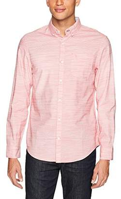 Original Penguin Men's Long Sleeve Stripe Cotton Linen Shirt