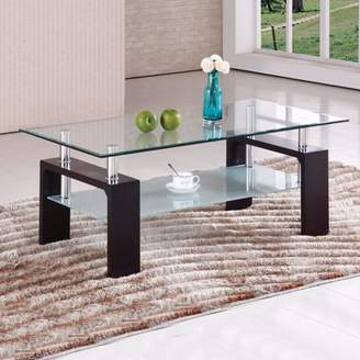 Home Source Contemporary Raised Glass Coffee Table