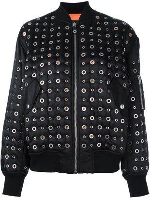 Alexander Wang grommet embellished bomber jacket $1,995 thestylecure.com