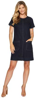 Vince Camuto Short Sleeve Indigo Denim Release Hem Shift Dress Women's Dress